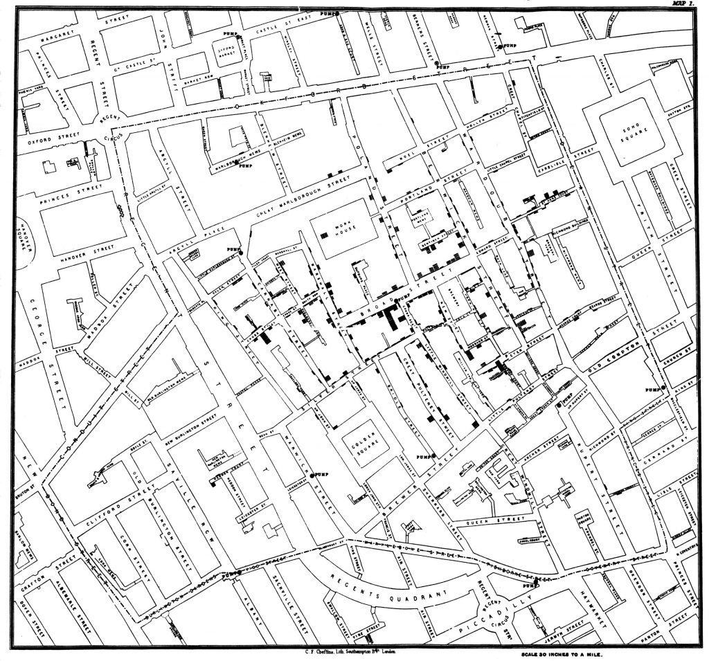 John Snow's cholera map, sourced from the University of Delaware