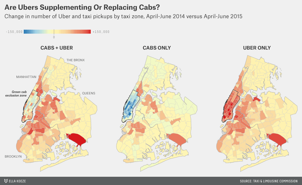 Visualisation by Ella Koeze / FiveThirtyEight.com of changes in pickups by Uber / yellow c